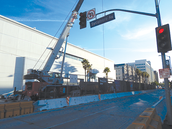 Work at the center opening at Wilshire Boulevard and Sycamore Avenue continues. (photo by Cameron Kiszla)