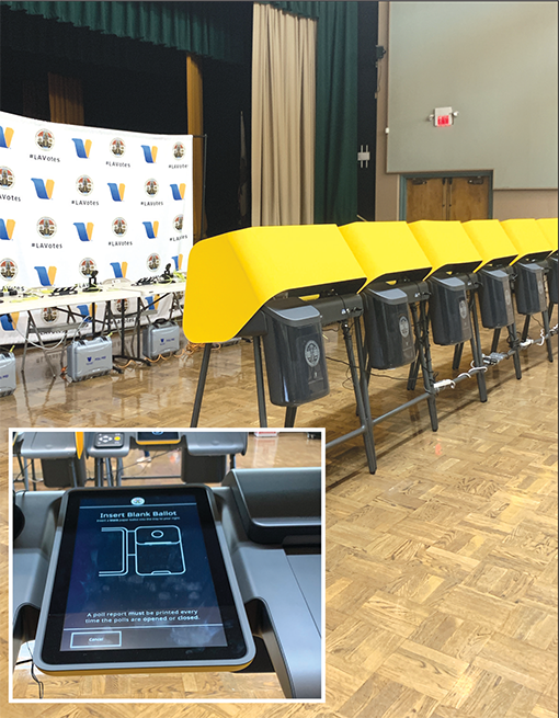 New voting machines will be used starting with the March 2020 primary. Privacy panels encapsulate the machines (inset photo) where voters can tailor their experience. (photo by Melissa Crowder)
