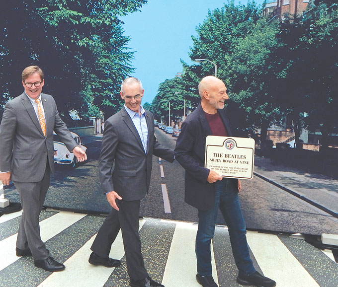 "Public Works Commissioner Kevin James, Los Angeles City Councilman Mitch O'Farrell, 13th District, and actor Sir Patrick Stewart recreated the famous cover of the Beatles' ""Abbey Road."" (photo by Cameron Kiszla)"