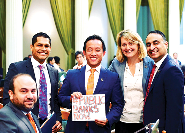 Assembly members Adrin Nazarian, Miguel Santiago, David Chiu, Buffy Wicks and Ash Kalra supported the Public Banking Act. (photo courtesy of the office of Assemblyman Miguel Santiago)