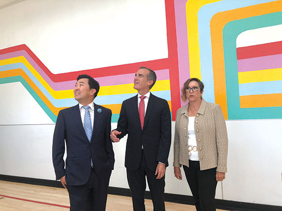 Los Angeles City Councilman David Ryu, Mayor Eric Garcetti and Regina Bette, president and CEO of Aviva Family and Children's Services, were on hand for the opening of bridge housing at Wallis House. (photo courtesy of City Councilman David Ryu)