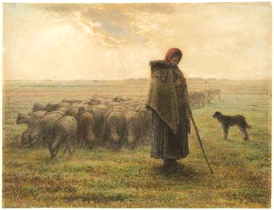 """""""Shepherdess and Her Flock"""" is a mid-18th century black chalk and pastel piece by Jean-Francois Millet. (photo courtesy of the Getty Museum)"""