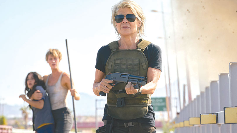 "Sarah Connor (Linda Hamilton), Grace (Mackenzie Davis) and Dani (Natalia Reyes) battle a lethal new cyborg in ""Terminator: Dark Fate."" (photo courtesy of 20th Century Fox)"