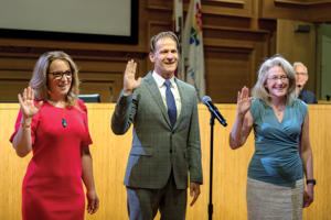 Mayor Pro Tempore Lindsey Horvath, Mayor John D'Amico and Councilwoman Lauren Meister were sworn in for new terms in April 2019. (photo by John Viscott/courtesy of the city of West Hollywood)