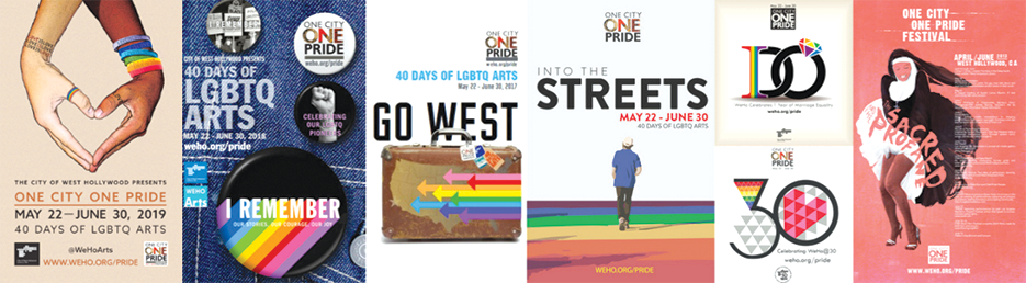 Recent winning entries of West Hollywood's One City One Pride LGBTQ Arts Festival design competition include Irina Yushmanova (2019) and John Johnston (2018). (Illustration courtesy of the city of West Hollywood)