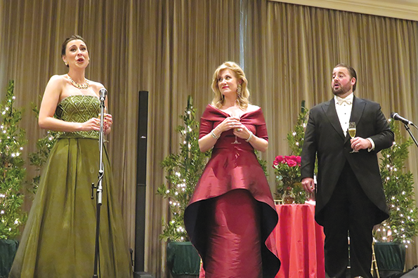 """Young vocalists Jacquelynne Fontaine, Michele Patzakis and Joshua Wheeker came together at the 2018 """"Gala Viennese Luncheon."""" (photo by Alma Guzman)"""