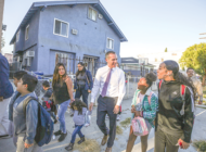 Garcetti hoofs it with students on International Walk to School Day