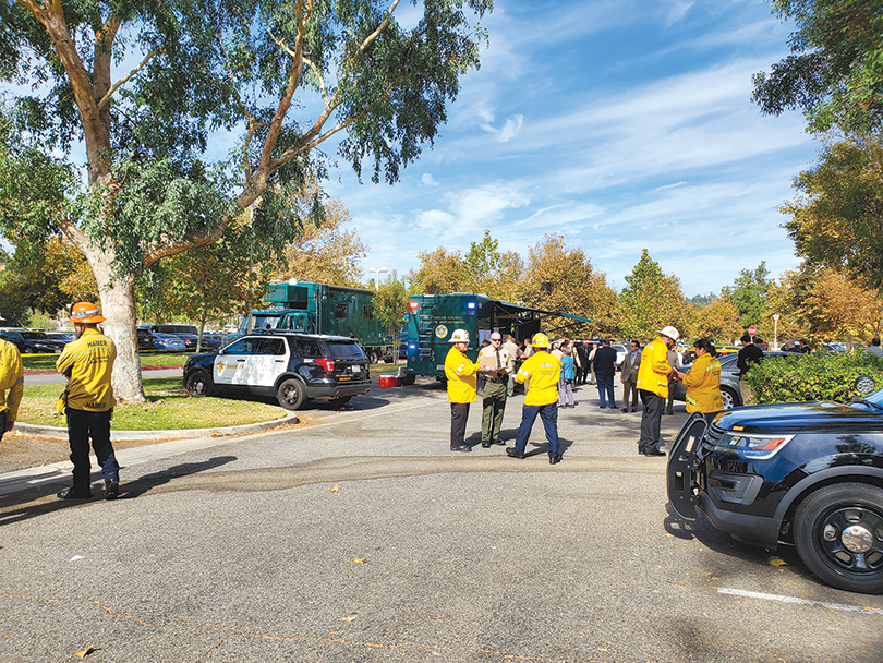First responders gathered at a command post in a park that also served as an evacuation site for students after the Saugus High School shooting. (photo by Lt. Todd Withers/Beverly Hills Police Department)