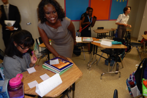 Former LAUSD Superintendent Dr. Michelle King, who championed the school, toured GALA during the first day of classes in 2016. (photo by Edwin Folven)
