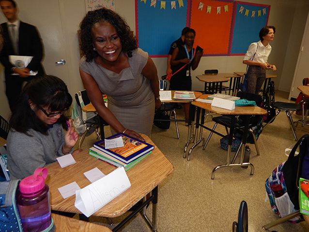 Former LAUSD Superintendent Dr. Michelle King, who championed the school, toured GALAduring the first day of classes in 2016. (photo by EdwinFolven)