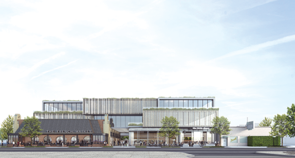 The French Market project is now planned to be three stories tall, not four. (rendering courtesy of Faring)