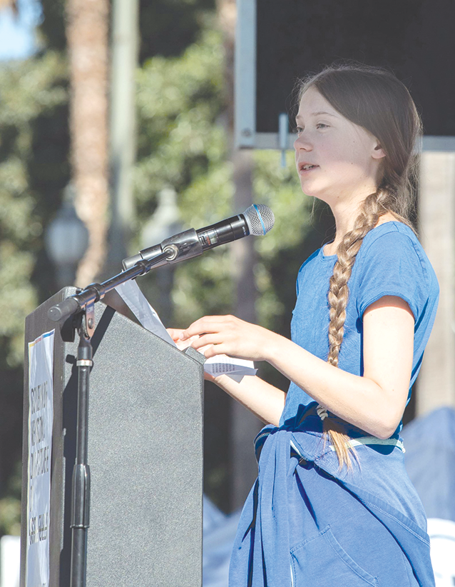 Youth climate change activist Greta Thunberg spoke on Nov. 1 during a rally at Los Angeles City Hall. (photo courtesy of the Council District 5 office)