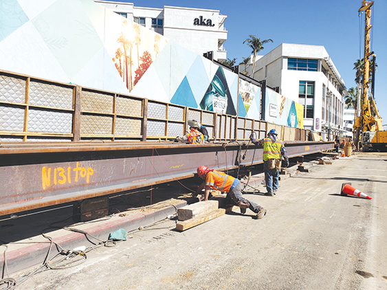 Crews are installing steel beams as part of pile drilling along Wilshire Boulevard near Rodeo Drive. (photo courtesy of Metro)