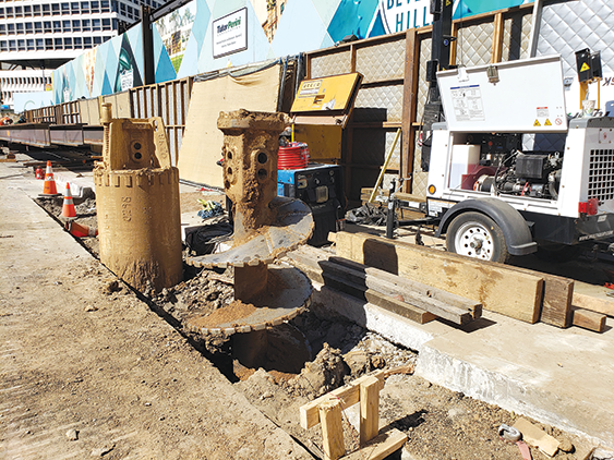 Pile drilling along Wilshire Boulevard near Rodeo Drive in Beverly Hills will be suspended between Thanksgiving and New Year's Day. Crews are currently restoring the streets in the area. (photo courtesy of Metro)