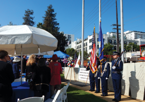 Andy Harland Jr., a veteran and event co-chair, led the attendees in reciting the Pledge of Allegiance after the presentation of colors by as UCLA's ROTC Air Force Color Guard.