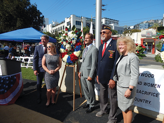 Members of the West Hollywood City Council joined veteran Dave Culmer (second from right) at the city's annual Veterans Day ceremony. (photo by Morgan Keith)