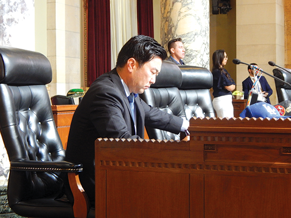 Los Angeles City Councilman David Ryu spoke in support of his proposal to ban developer contributions and behested payments at the Nov. 15 Rules, Elections and Intergovernmental Relations Committee meeting. (photo by Cameron Kiszla)
