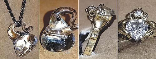 Authorities hope jewelry worn by a woman killed in a 1999 vehicle collision will help them identify the victim. (photo courtesy of the Los Angeles County Department of Medical Examiner-Coroner)
