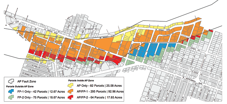 West Hollywood's fault zones will need to be adjusted due to changes the state made to its Alquist-Priolo Earthquake Fault Zones Map. (map courtesy of the city of West Hollywood)