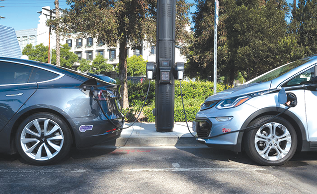 The city of West Hollywood's Smart Node street lights can charge electric vehicles.  (photo by Jon Viscott/courtesy of the city of West Hollywood)