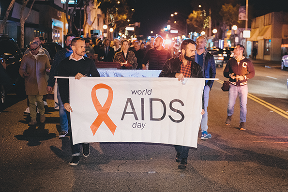 The city of West Hollywood's World AIDS Day observance, shown in 2018, includes a march and candlelight vigil. (photo by Jonathan Moore)