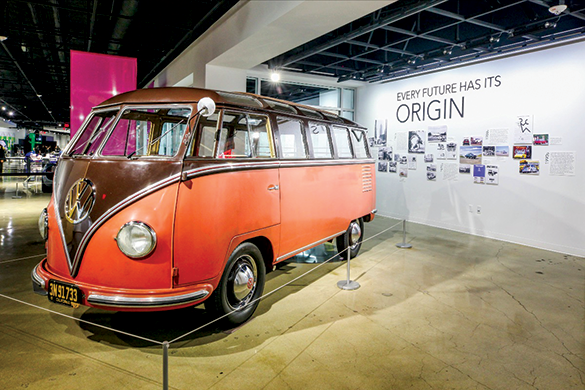 The Type 2 DeLuxe Microbus, also known as the Transporter, was first imported into the U.S. in 1952. Volkswagen's planned ID.BUZZ will build upon the tradition of the Transporter line providing a new interpretation of the 1950s classic. (photo courtesy of Petersen Automotive Exhibit)