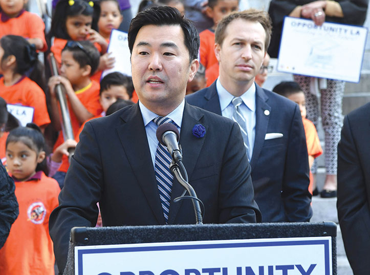 City Councilman David Ryu and LAUSD Boardmember Nick Melvoin rallied for the savings account program at L.A City Hall. (photo courtesy of the Council District 4 office)