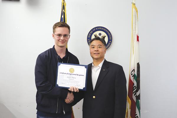 Jayden Bulexa and U.S. Rep. Ted Lieu share an interest in computers. (photo courtesy of Jayden Bulexa)