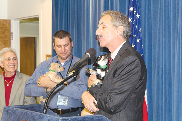 Los Angeles City Attorney Mike Feuer was joined by staff from Los Angeles Animal Services and eight-week old puppies Dancer, Dasher and Comet to highlight the prevalence of pet scams. (photo courtesy of the Los Angeles City Attorney's office)
