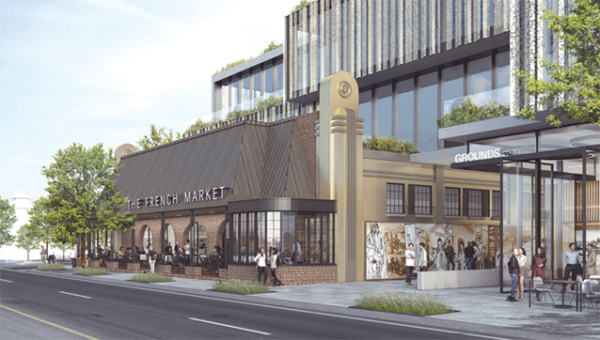 The French Market project is expected to include a  24-hour diner, retail space and subterranean parking. (rendering courtesy of the city of West Hollywood)