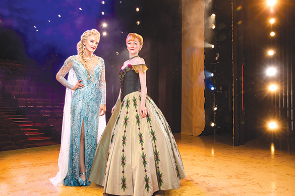 "Caroline Bowman stars as Elsa and Caroline Innerbichler as Anna in a production of ""Frozen"" at the Hollywood Pantages Theatre. (photo by Matthew Murphy for MurphyMade)"