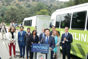 Councilman David Ryu encouraged people to use the new Griffith Parkline to access the park's many attractions during the program's launch on Dec. 3. (photo by Edwin Folven)