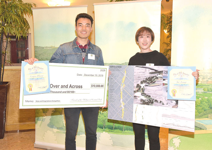 USC students Lingyu Huang and Sai Liang presented their ideas for Hollywood Central Park and won first place, which included a $10,000 prize. (photo by William Kidston)