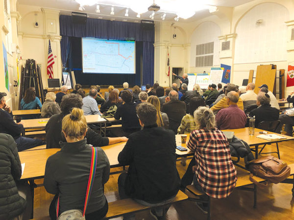 Attendees gathered at Carthay School of Environmental Studies Magnet to view a Metro presentation on the Crenshaw Northern Extension and have a public discussion. (photo by Morgan Keith)
