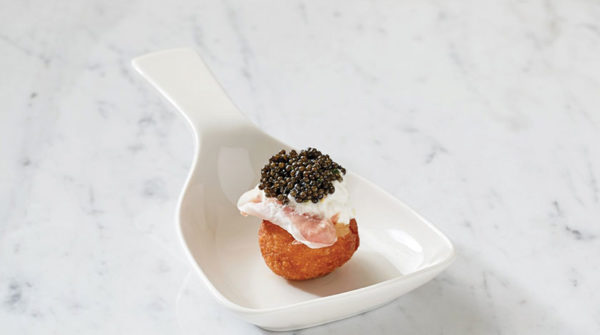 The bite-sized spuntini topped with osetra caviar is a tantalizing start to the Bona Furtuna prix fixe dinner. (photo courtesy of Osteria Cal Mare)