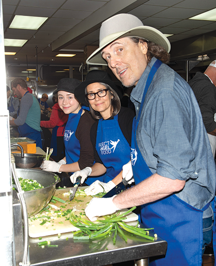 """Weird Al"" Yankovic and his daughter Nina and wife Suzanne volunteered with Project Angel Food on Thanksgiving morning. (photo courtesy of Project Angel Food)"