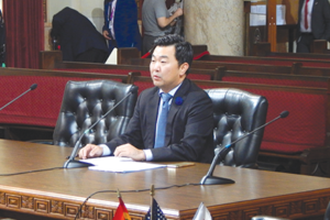 City Councilman David Ryu spoke on behalf of his proposal at a Rules Committee meeting last month. (photo by Cameron Kiszla)