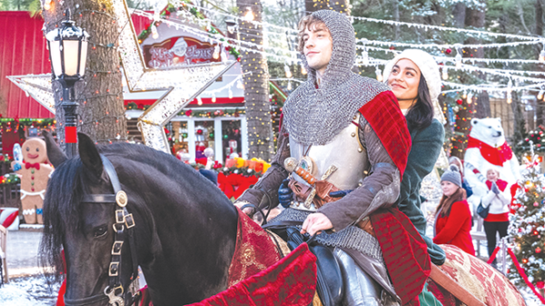 "Vanessa Hudgens and Josh Whitehouse star in ""The Knight Before Christmas,"" a heartwarming film about a knight from long ago who appears in the future, and the love story that ensues. (photo courtesy of Netflix)"