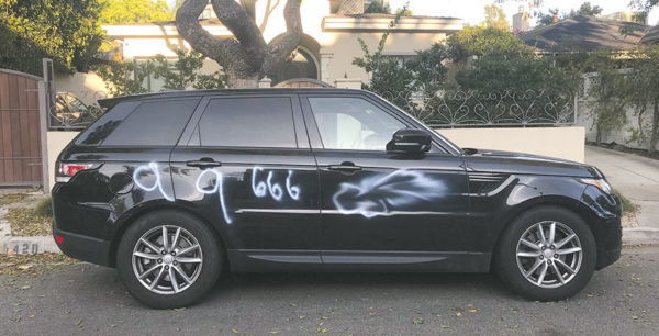 Graffiti was scrawled on 10 vehicles in West Hollywood overnight between Dec. 14 and 15. (photo courtesy of WHWRA)
