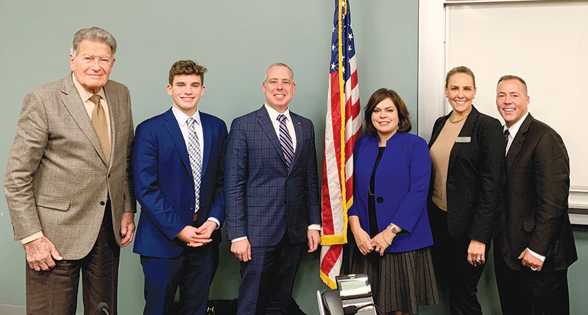 From left, Mel Spitz, Student Board Member Thomas Recupero, Noah Margo, Isabel Hacker, Tristen Walker-Shuman and BHUSD Superintendent Michael Bregy attended the officer installation. (photo courtesy of BHUSD)