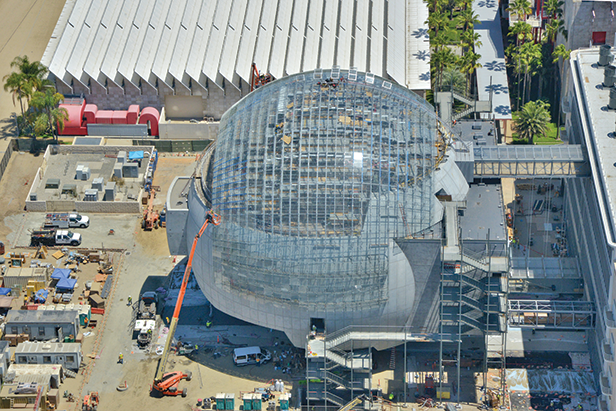 The Academy Museum of Motion Pictures' sphere will include the 1,000-seat David Geffen Theater and the rooftop Dolby Family Terrace with sweeping views of the Hollywood Hills. (photo ©Academy Museum Foundation)