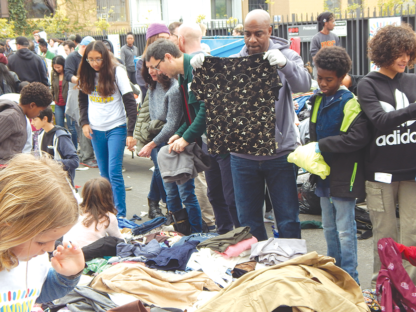 Volunteers sorted clothing that was donated to people in need during Big Sunday's annual MLK Day of Service event in Hollywood. (photo by Edwin Folven)