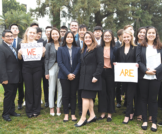 Assemblywoman Luz Rivas (center) joined youth activists from throughout the state to announce new legislation to empower young people. (photo courtesy of Assemblywoman Luz Rivas' office)