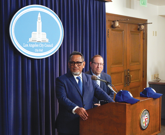 Los Angeles City Councilmen Gilbert Cedillo and Paul Koretz held a press conference in support of their resolution before the full council vote on Jan. 21. (photo by Cameron Kiszla)