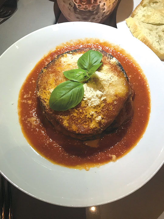 The eggplant parmigiano is one of chef Edoardo's specialties at edo at The Grove. (photo by Jill Weinlein)