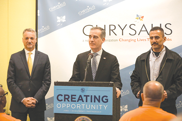 Los Angeles Mayor Eric Garcetti touted the New Roads to Second Chances program, which helps people who were formerly incarcerated find jobs and careers. (photo courtesy of Mayor Eric Garcetti's office)
