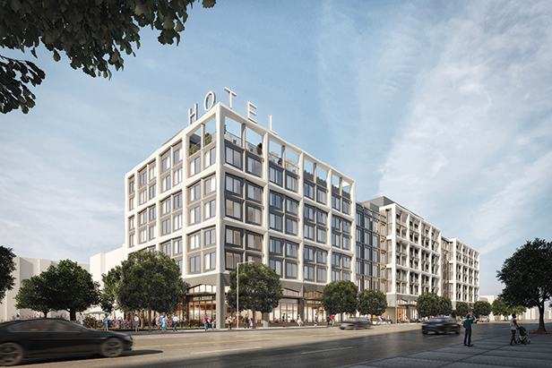 A proposed mixed-use project would build hotel, residential and commercial space near the corner of Wilshire and La Brea. (rendering courtesy of CGI Strategies)