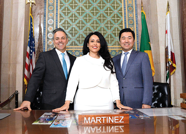 The new Los Angeles City Council leadership is President Pro Tempore Joe Buscaino, 15th District, President Nury Martinez, 6th District, and Assistant President Pro Tempore David Ryu, 4th District. (photo courtesy of Council President Nury Martinez's Twitter account)