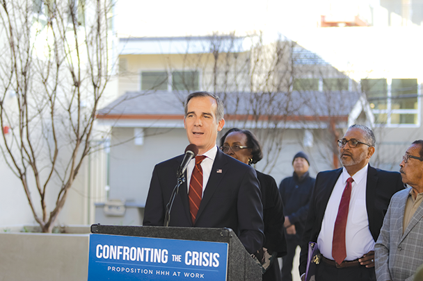 Mayor Eric Garcetti was joined by civic leaders at the opening of new housing for homeless and low-income individuals. (photo courtesy of Mayor Eric Garcetti's office)
