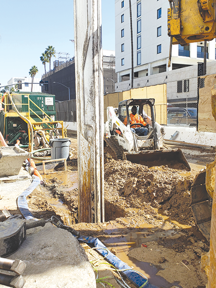 Preparations continue for piling in Beverly Hills as part of the Purple Line Extension project. (photo courtesy of Metro)
